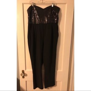 Express strapless black sequined jumpsuit size 16